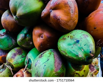 brown and green raw coconut in the Market