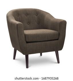 Brauner, grau-brauner Sessel in dunkler Farbe. Moderner Designerstuhl auf weißem Hintergrund. Textilstuhl.