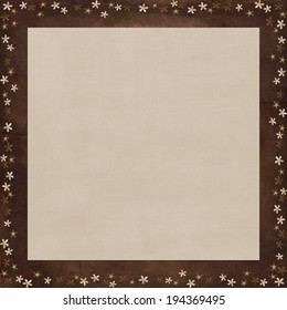 brown grunge paper texture background with paper flowers frame