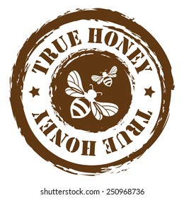 Brown Grungy True Honey Sticker, Icon or Label Isolated on White Background