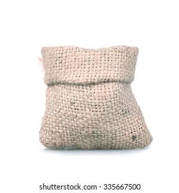 Brown gunny bag on white isolate background.Handmade bags.
