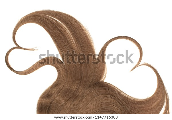 Brown hair, isolated over white background