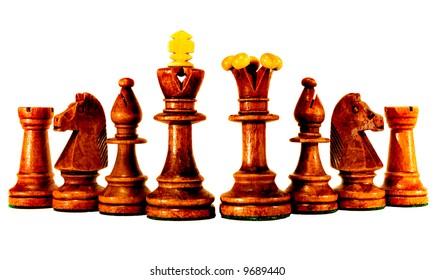 Brown half of chess set