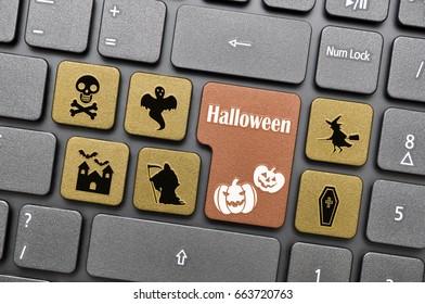 Brown halloween key on keyboard