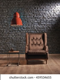 brown hardwood seat black stone wall red modern pendant lighting and modern coffee table interior office concept