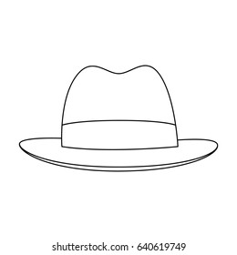 Brown hat with a brim. Headdress investigator for cover.Detective single icon in outline style bitmap,raster symbol stock illustration.