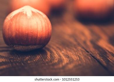 Brown hazel nut. Healthy organic snack hazelnut. Group of food ingredient. Filbert nutshell seed. Natural protein fruit macro. Vegetarian nutrition.