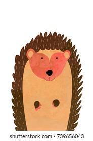 Bon Brown Hedgehog, Illustration For Nursery On White Background