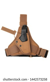 Brown holster for a gun isolate on a white background.