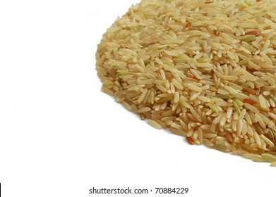 Brown indica rice isolated on white background