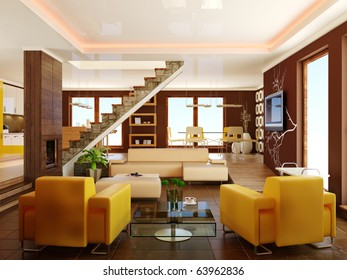 brown interior room with yellow armchairs