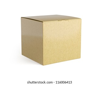 Brown isolated box. High resolution  render