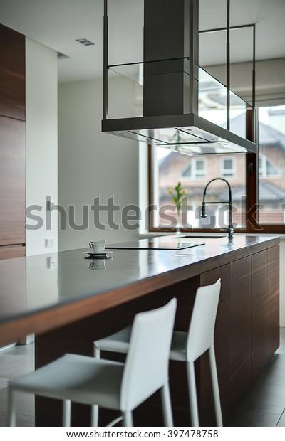Brown Kitchen Island Cooktop Sink Modern Stock Photo Edit Now 397478758