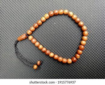 Brown kokka wooden prayer beads bracelet