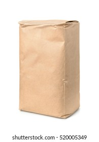 Brown kraft paper food bag isolated on white