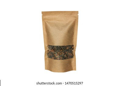 Brown kraft paper pouch bag front view isolated on a white background. Packaging for foods and goods template mock-up. Packs with clasps and windows for tea leaves, coffee beans and weight products.