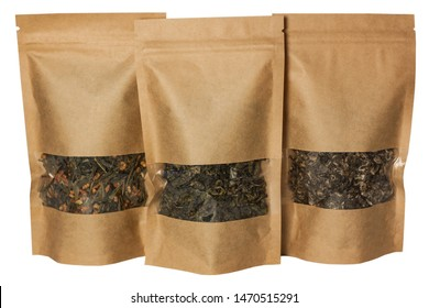 Brown kraft paper pouch bags front view isolated on a white background. Packaging for foods and goods template mock-up. Packs with clasps and windows for tea leaves, coffee beans and weight products.