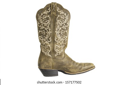 A brown ladies cowboy western boot isolated on a white background.