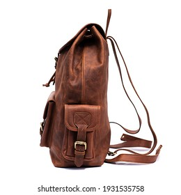 brown leather backpack isolated white