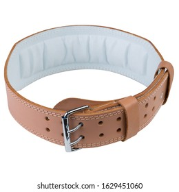 brown leather belt for bodybuilding or powerlifting, to support the spine, on a white background, isolate