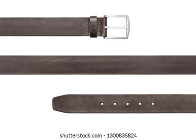 Brown leather belt isolated on white background, included clipping path