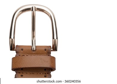 Brown leather belt, isolated on a white background