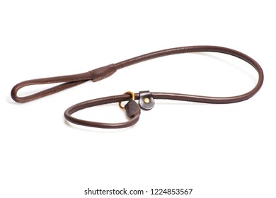 brown leather belt isolated over white background