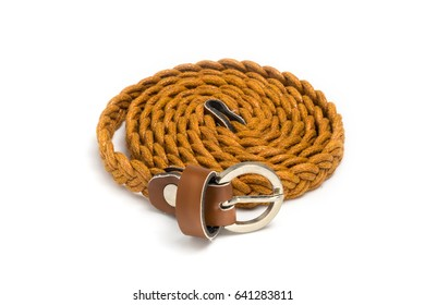 Brown leather belt for women on white background