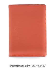 Brown leather book cover on white background