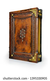 Brown leather book cover with the tree of life, Kabbalah symbol, surrounded with deeply embossed frame and metal corners - captured stand up frontal