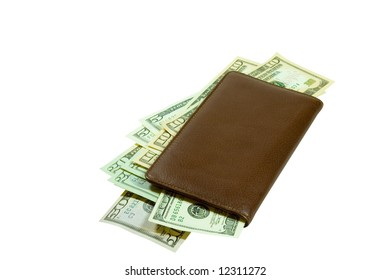 A brown leather checkbook stuffed full of crisp US currency. Here is a great financial motive for you to use!