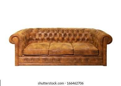 Brown leather Chesterfield sofa isolated included clipping path