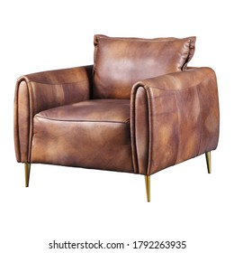 Brown Leather Club Chair Isolated on White. Front Side View of Modern Accent Arm Chair. Lounge Armchair with Upholstered Wings Armrests and Seat Cushion & Metal Legs. Interior Furniture