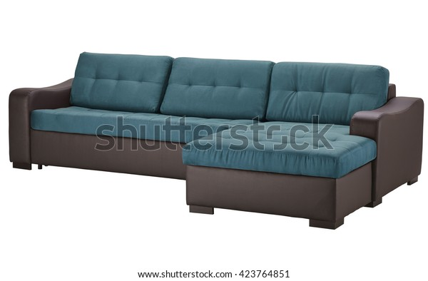 Brown Leather Corner Sofa Isolated On | Objects, Interiors ...