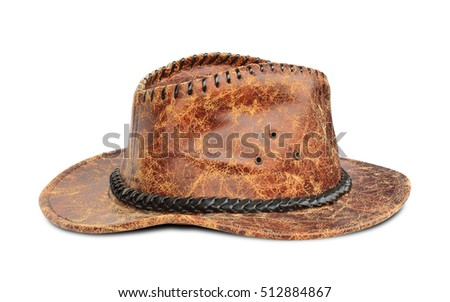 fcafbf911b887 Brown Leather Cowboy Hat Isolated On Stock Photo (Edit Now ...
