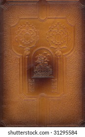 brown leather craft tooled vintage book cover with texture and border