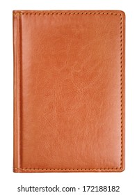 Brown leather diary book cover isolated on white with clipping path