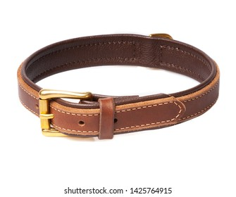 brown leather dog collar isolated on white background