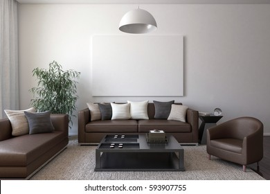 Brown leather furniture with cushions, a table, a house plant, a chandelier and a blank canvas on the wall. 3D render