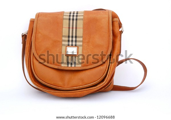 Brown leather handbag for ladies isolated on white background