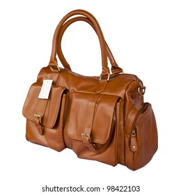 Brown leather handbag on isolated background