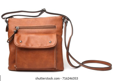 Brown leather handbag on white background