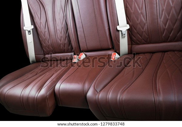 Brown Leather Interior Luxury Modern Car Stock Photo Edit