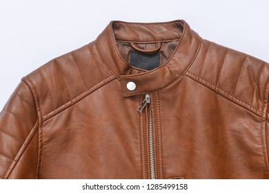 brown leather jacket –white background