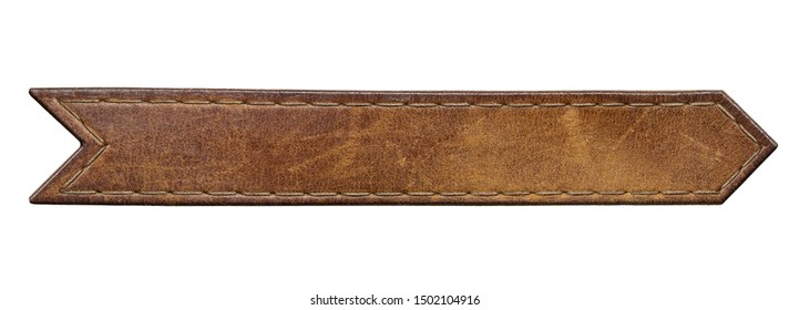 Brown leather jeans label. Isolated long leather tag.