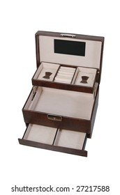 Brown leather jewelry box with handle and locker isolated on white
