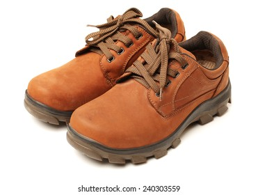 Brown leather man's shoes isolated on white background