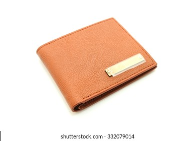 Brown leather men purse on a white background
