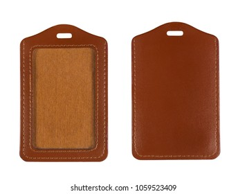Brown leather name tag or trave tag and blank id isolated on white with clipping path
