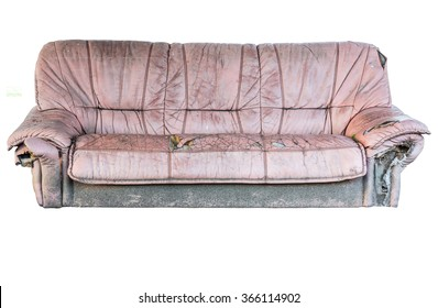Brown leather old sofa isolated included clipping path